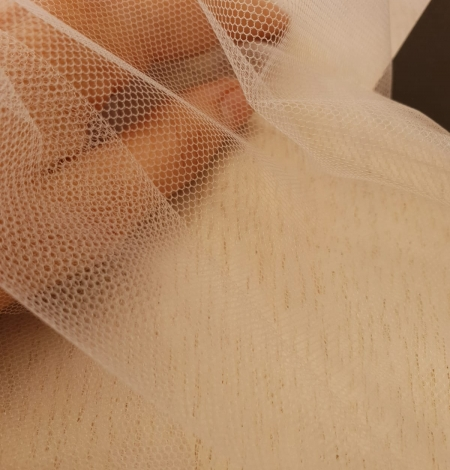 Beige invisible tulle fabric from Italy. Photo 5