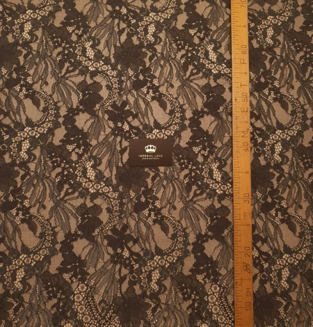 Greyish brown chantilly floral pattern lace fabric. Photo 6