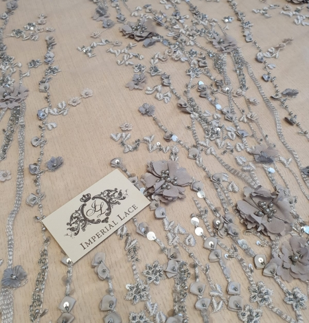 Gray with grayish brown flowers 3D lace fabric. Photo 3