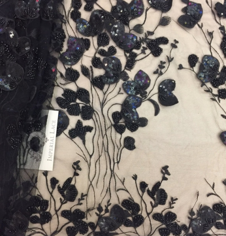 Luxury black 3D flowers lace fabric. Photo 1