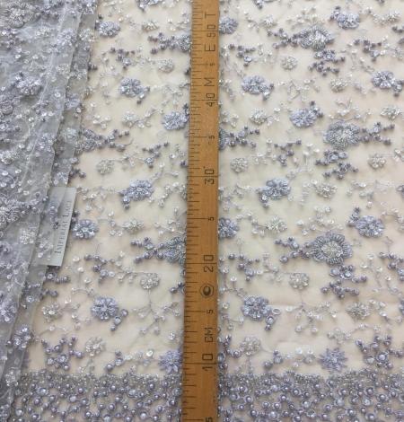 Grey beaded lace fabric. Photo 9