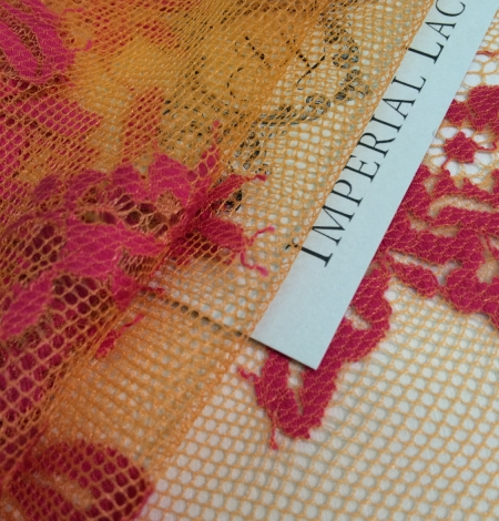 Orange and Fuchsia Color Lace Fabric. Photo 4
