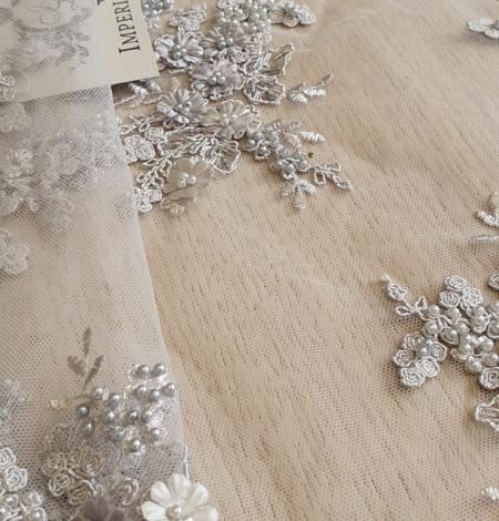 Grey beaded lace fabric. Photo 5