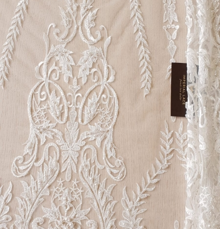 Ivory beaded lace fabric. Photo 6