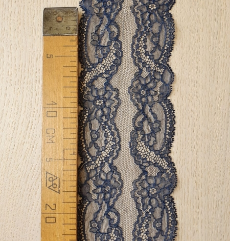 Dark blue elastic chantilly lace trimming. Photo 6