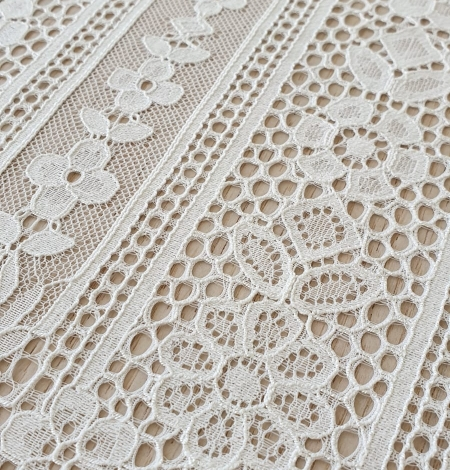 Ivory chantilly floral and stripes lace fabric. Photo 2