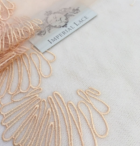 Salmon embroidery on tulle French Lace. Photo 1