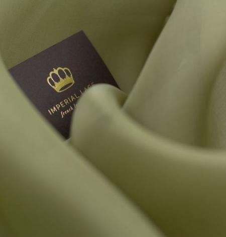 Olive green silk organza fabric . Photo 7