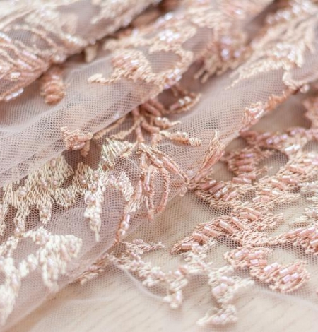 Powder pink beaded embroidery on tulle fabric. Photo 5