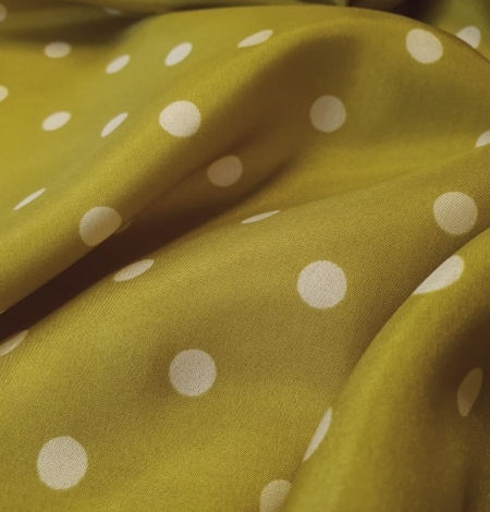 Olive green white dotted silk lining fabric. Photo 4