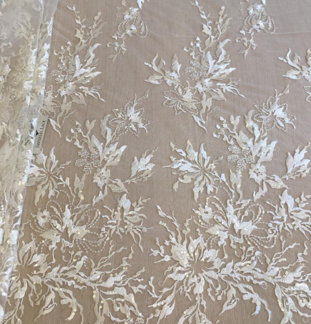 Ivory sequin embroidery lace fabric. Photo 4
