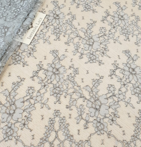 Grey natural chantilly lace fabric by Jean Bracq. Photo 2