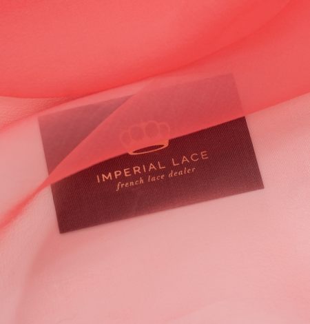 Coral orange silk organza fabric. Photo 3