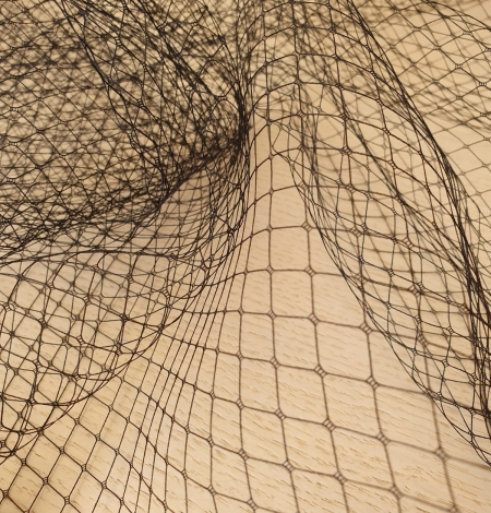 Black hat net tulle fabric. Photo 7