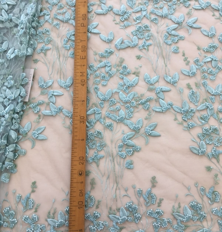 Mint green organic leaf pattern embroidery lace fabric. Photo 9