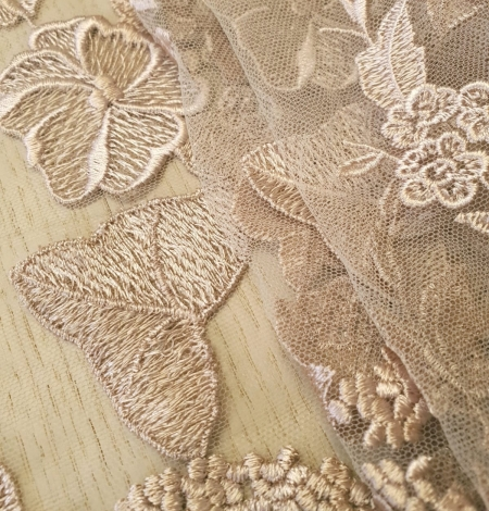 Dark powder nude floral pattern embroidery on tulle fabric. Photo 2