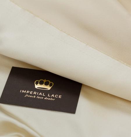 Cream color silk duchess fabric . Photo 8