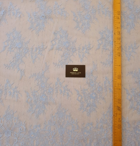 light blue floral pattern chantilly lace fabric. Photo 7