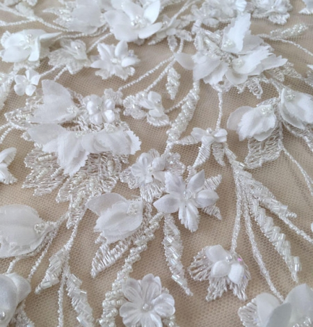 Ivory 3D beaded lace fabric. Photo 7