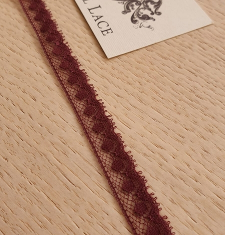 Wine red chantilly lace fabric. Photo 1