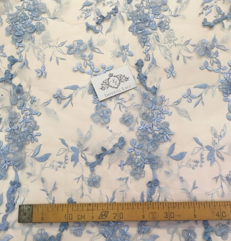 Blue grey flowers lace fabric. Photo 7