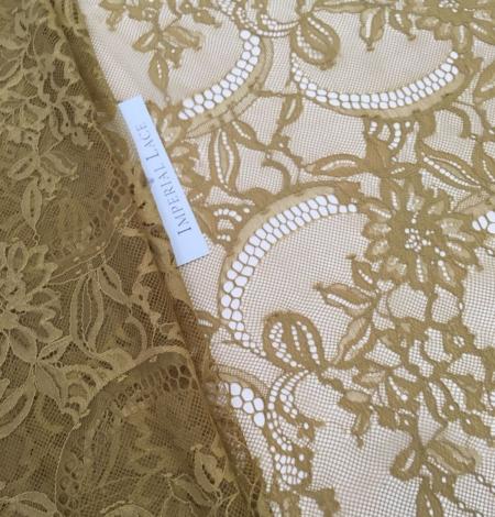 Khaki green lace fabric. Photo 2