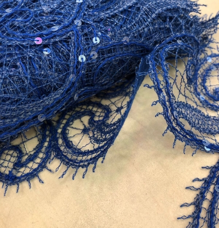 Blue macrame lace trimming with sequins. Photo 6