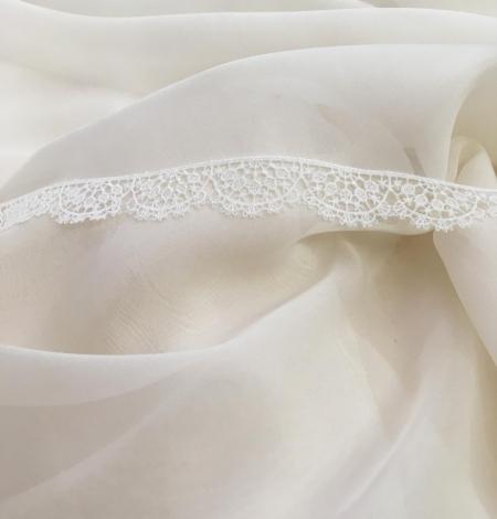 Light ivory silk chiffon fabric. Photo 1