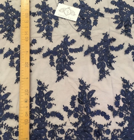 Navy blue 3D flowers lace fabric. Photo 6