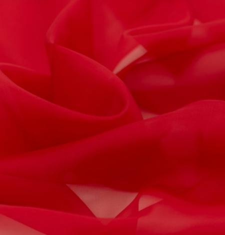 Red silk organza fabric . Photo 5