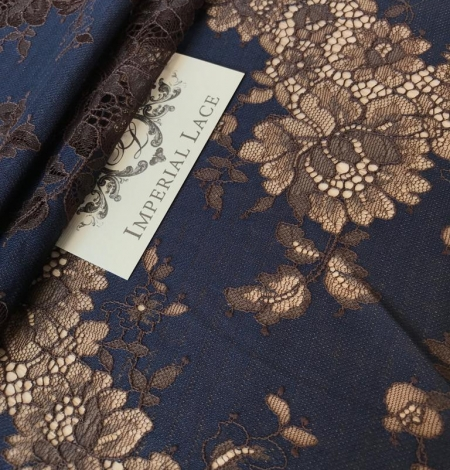 Dark blue with brown flower pattern lace fabric. Photo 2