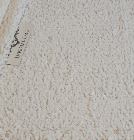 Offwhite beaded lace fabric. Photo 8