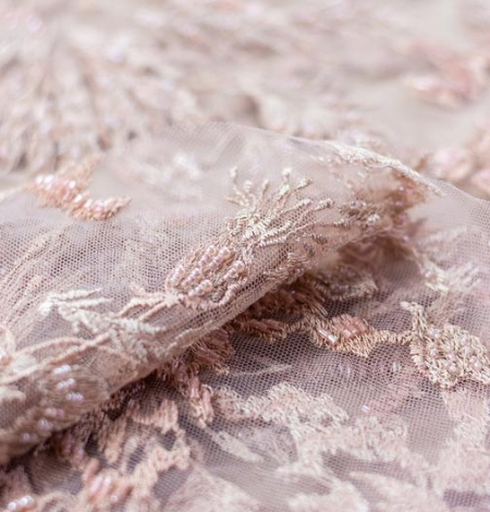 Powder pink beaded embroidery on tulle fabric. Photo 4