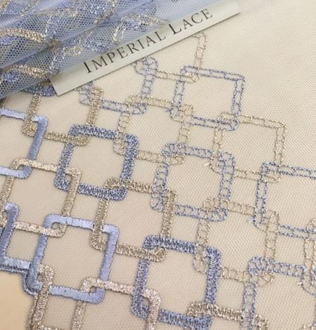 Blue with gold lingerie lace trim. Photo 1