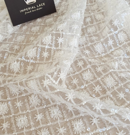 Ivory checkered floral beaded lace fabric. Photo 6