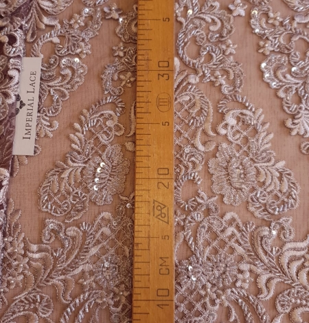 Luxury brown beaded lace fabric. Photo 8