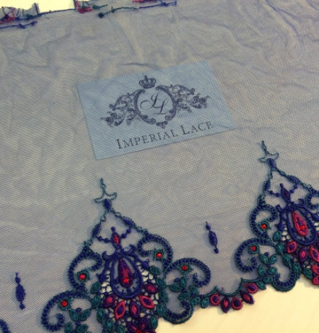 Blue with crystals elastic lingerie lace trim. Photo 2