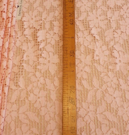 Pink floral and checkered guipure lace fabric. Photo 6