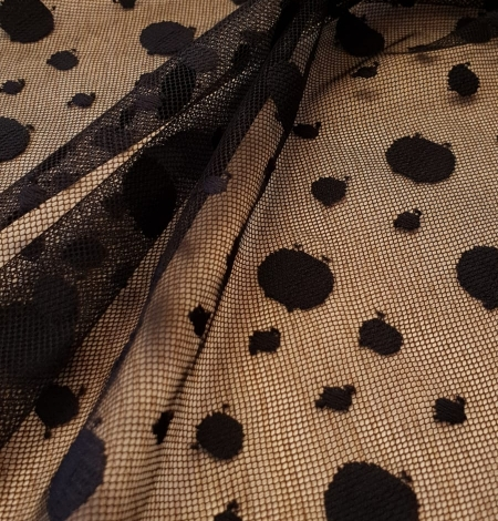 Black 100% polyester abstract circle pattern tulle fabric. Photo 3