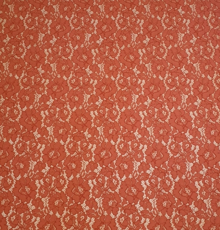 Redish brown guipure lace fabric. Photo 4