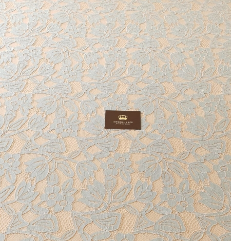 Beige with blue 70% cotton with 30% polyester guipure lace fabric . Photo 3