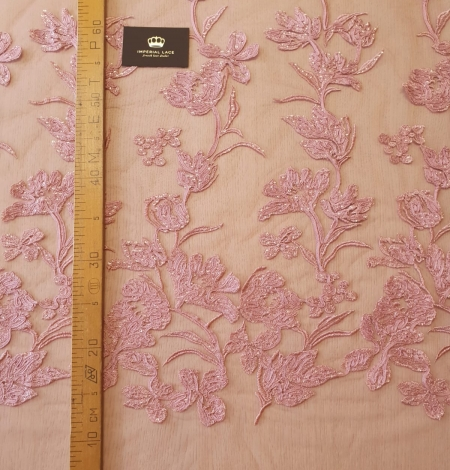 Raspberry pink floral pattern embroidery sequins on soft tulle fabric. Photo 9