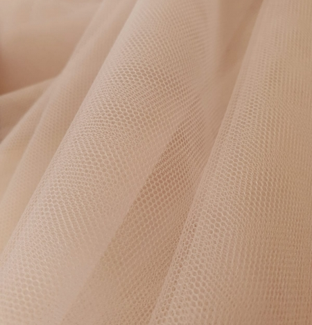 Beige invisible tulle fabric from Italy. Photo 4