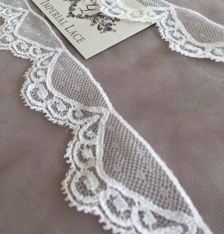 Ivory Chantilly lace trim. Photo 1