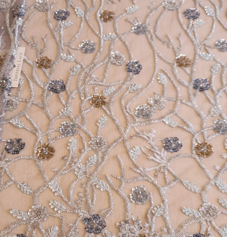Grey beaded lace fabric. Photo 3
