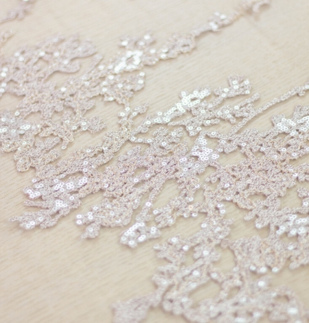 Nude organic pattern embroidery with sequins on tulle fabric. Photo 6
