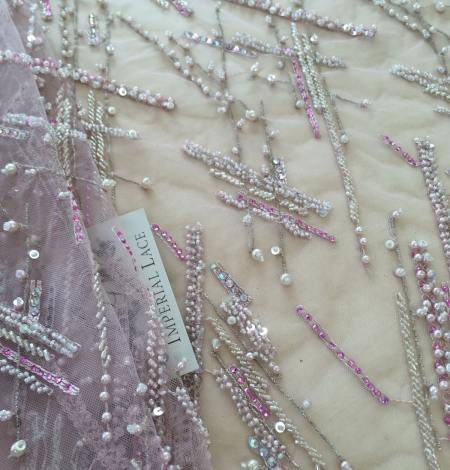 Pink beaded lace fabric. Photo 2