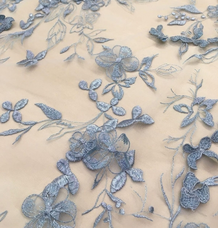 Blue grey flowers lace fabric. Photo 2
