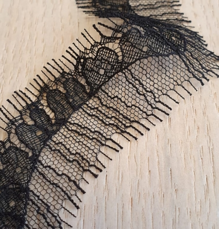 Black natural chantilly lace fabric by Jean Bracq. Photo 3