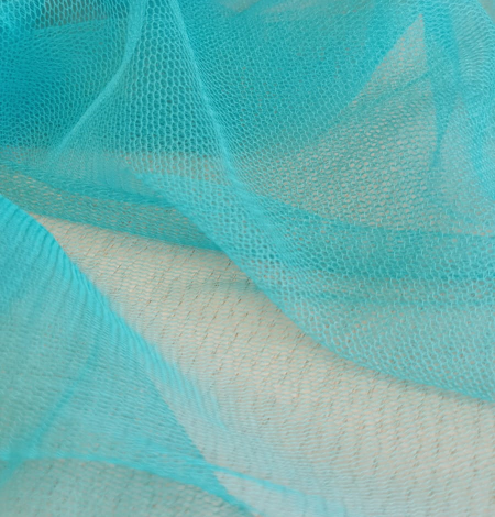 Turquoise silk tulle fabric. Photo 7